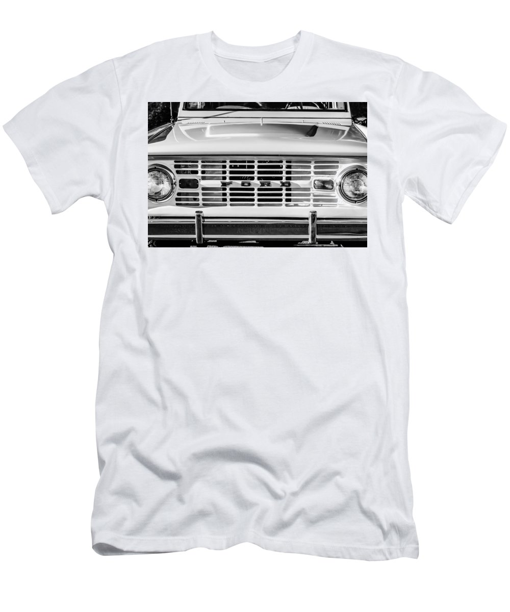 Ford Bronco Grille Emblem T-Shirt featuring the photograph Ford Bronco Grille Emblem -0014bw by Jill Reger