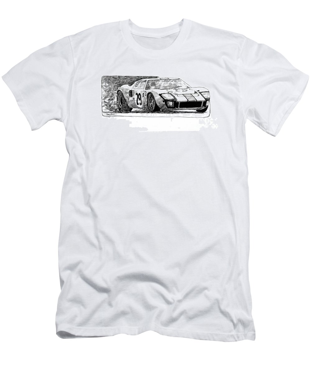 Automotive Men's T-Shirt (Athletic Fit) featuring the drawing Ford Gt - 40 by David Lloyd Glover