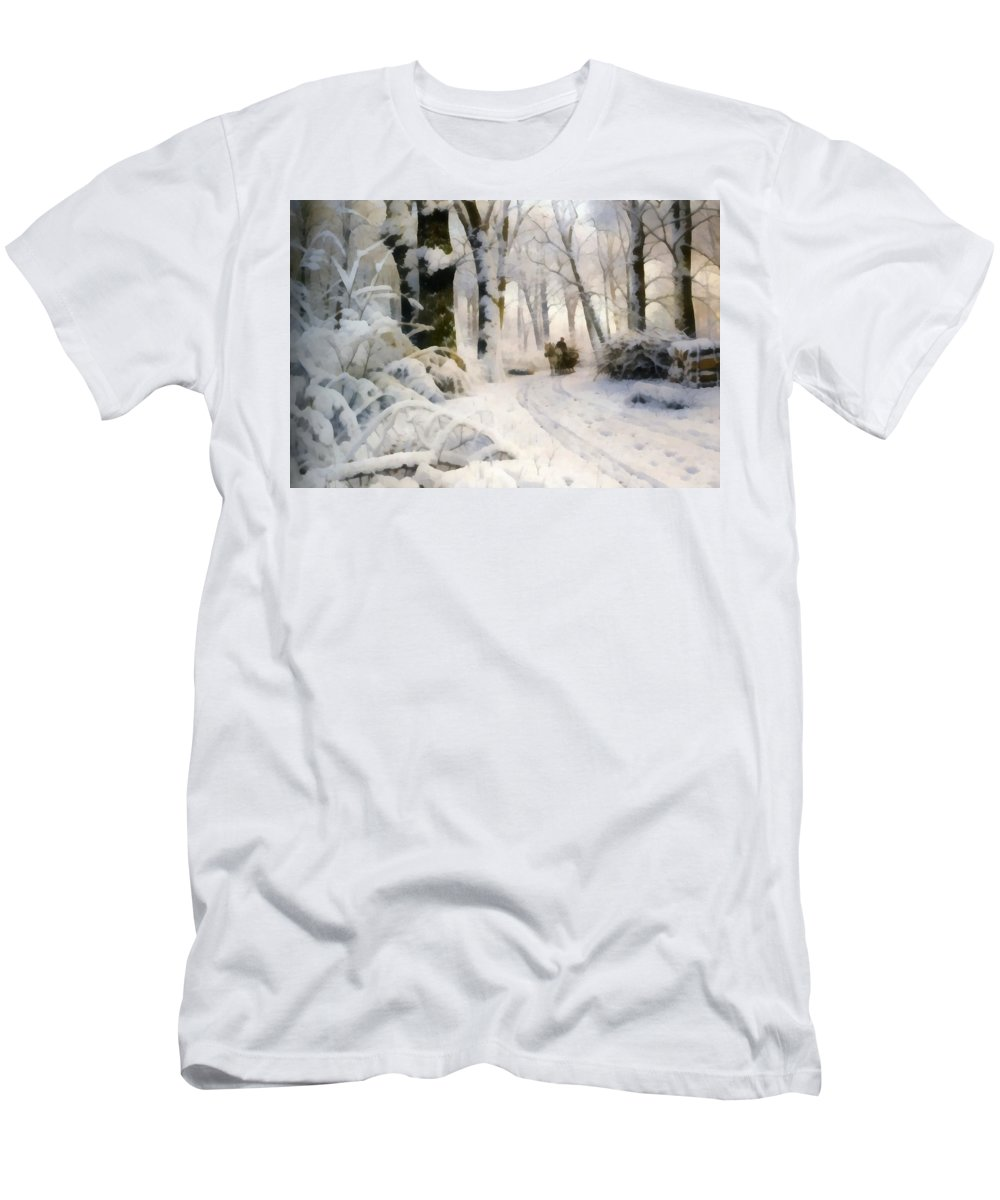 Peder Mork Monsted Men's T-Shirt (Athletic Fit) featuring the digital art Forest In Winter by Peder Mork Monsted