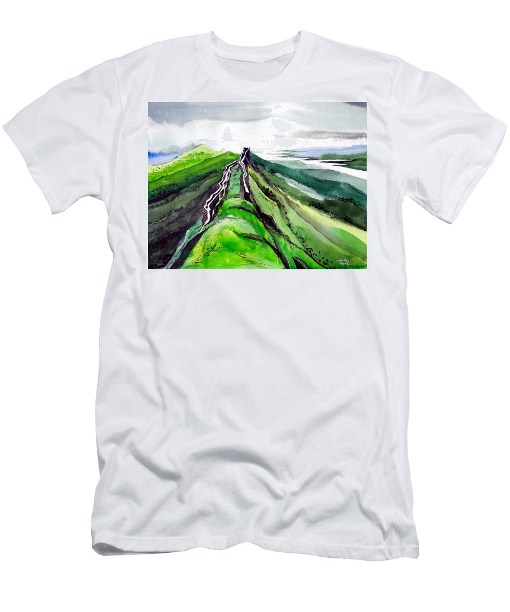 Fort Men's T-Shirt (Athletic Fit) featuring the painting Fort 1 by Anil Nene
