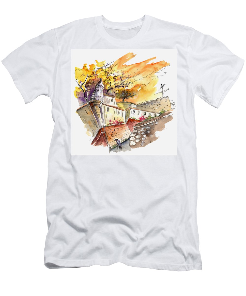 Travel Art Men's T-Shirt (Athletic Fit) featuring the painting Fort In Valenca Portugal 02 by Miki De Goodaboom