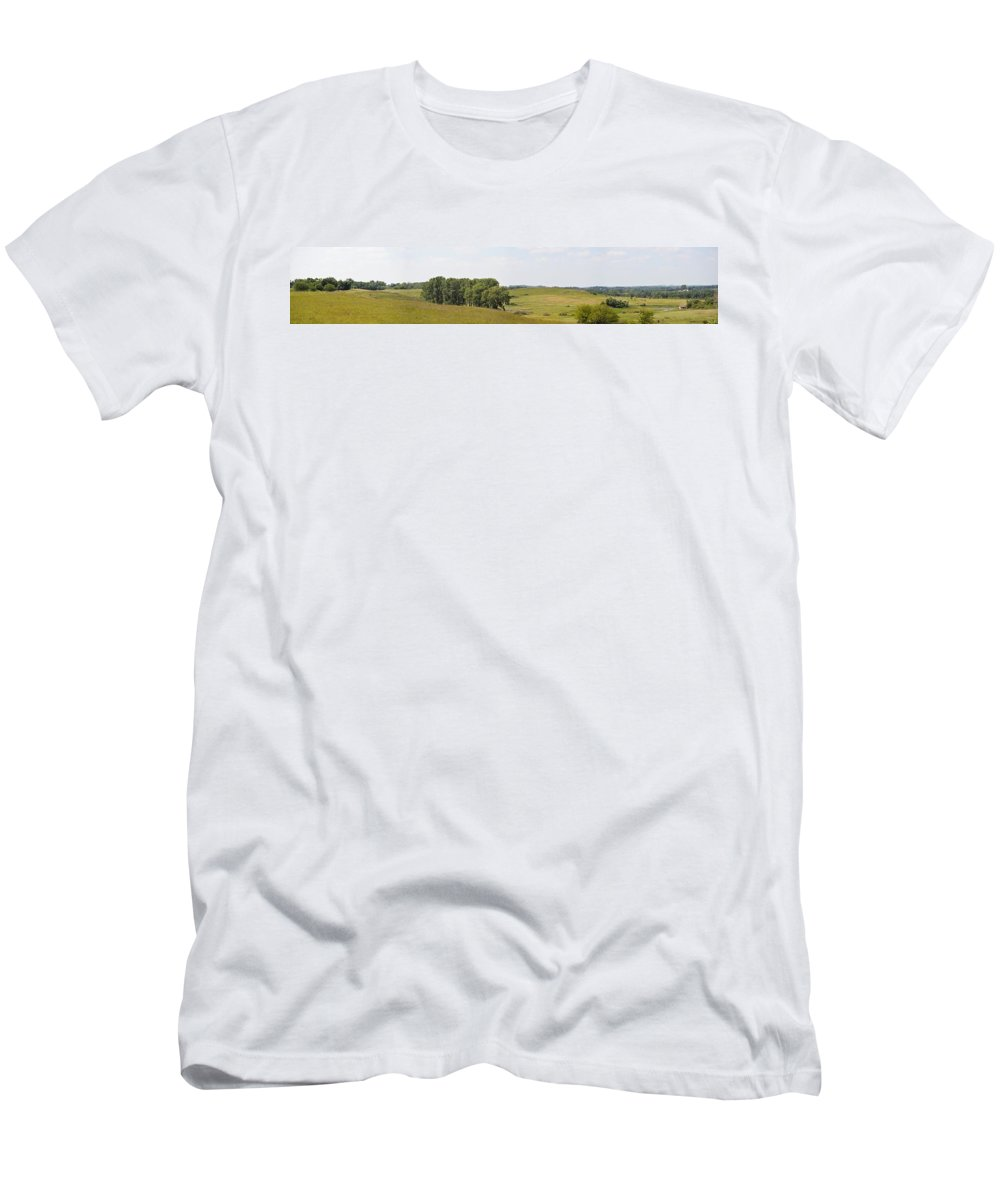 Fossil Prairie Men's T-Shirt (Athletic Fit) featuring the photograph Fossil Prairie Panoramic 3 by Bonfire Photography