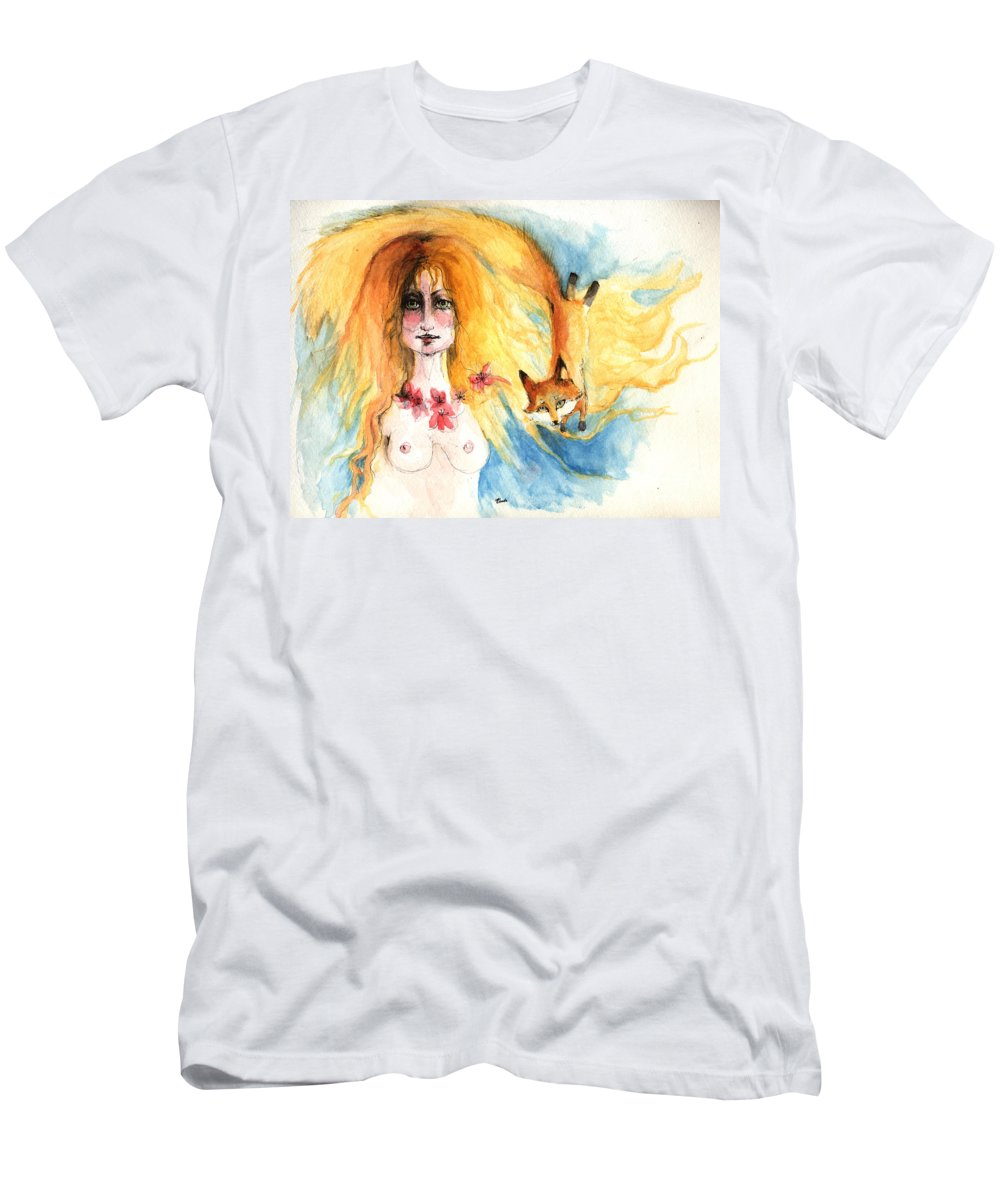 Nude Men's T-Shirt (Athletic Fit) featuring the painting Fox Girl by Angel Ciesniarska