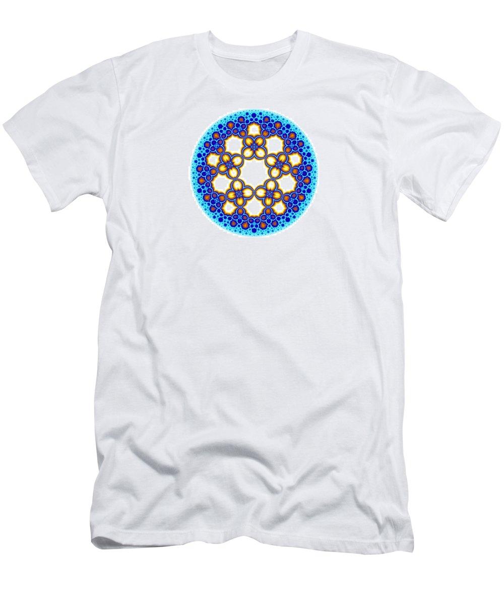 Escheresque Men's T-Shirt (Athletic Fit) featuring the digital art Fractal Escher Winter Mandala 3 by Hakon Soreide