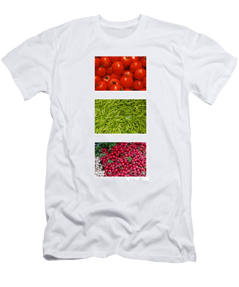 Tomato Men's T-Shirt (Athletic Fit) featuring the photograph Fresh Vegetable Triptych by Thomas Marchessault