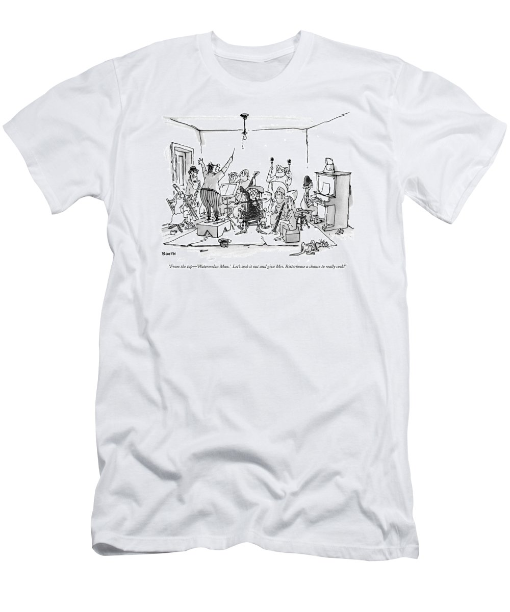 (man Conducting Band Of Senior Citizens In Living Room.) Relationships Men's T-Shirt (Athletic Fit) featuring the drawing From The Top - 'watermelon Man.' Let's Sock by George Booth