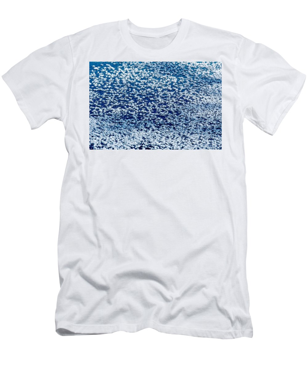 Frost Men's T-Shirt (Athletic Fit) featuring the photograph Frost Flakes On Ice - 02 by Larry Jost