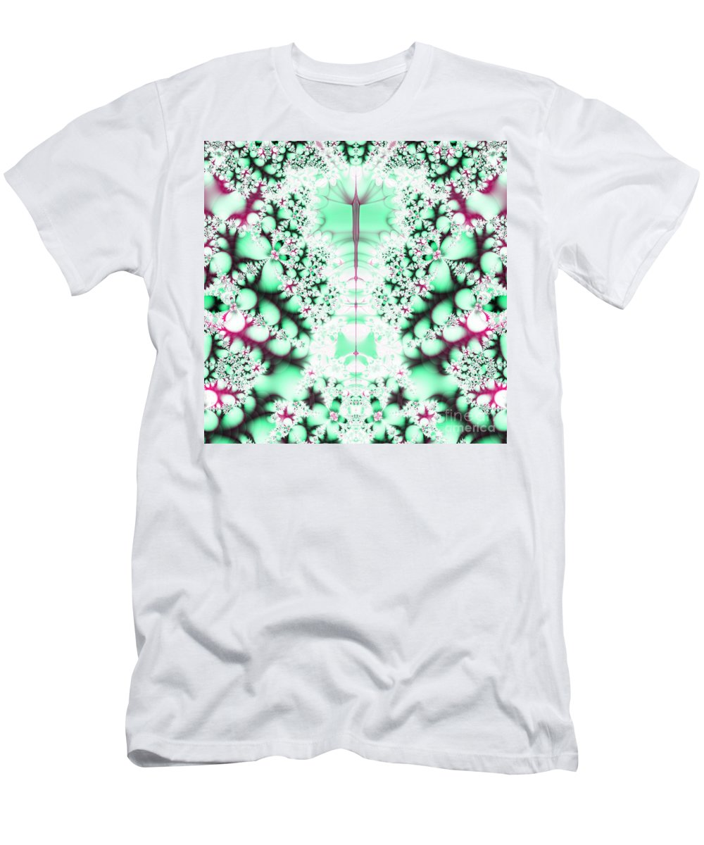 Frost On The Grass Fractal Men's T-Shirt (Athletic Fit) featuring the digital art Frost On The Grass Fractal by Rose Santuci-Sofranko