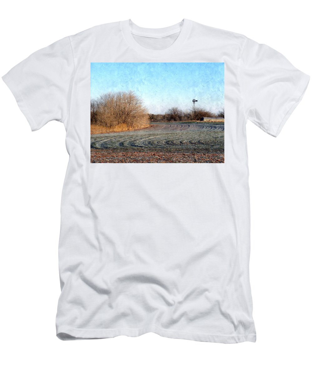 Frost Men's T-Shirt (Athletic Fit) featuring the photograph Frosted Wheat by Annie Adkins