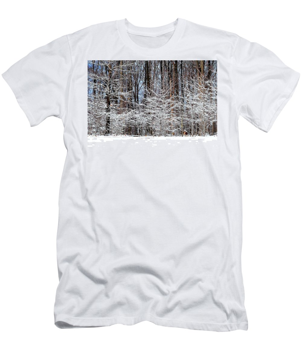 Snow Men's T-Shirt (Athletic Fit) featuring the photograph Frosty by Frozen in Time Fine Art Photography