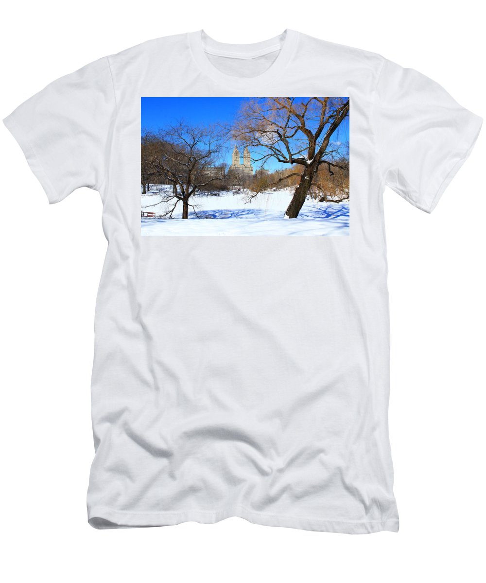 Central Park Men's T-Shirt (Athletic Fit) featuring the photograph Frozen Over by Catie Canetti