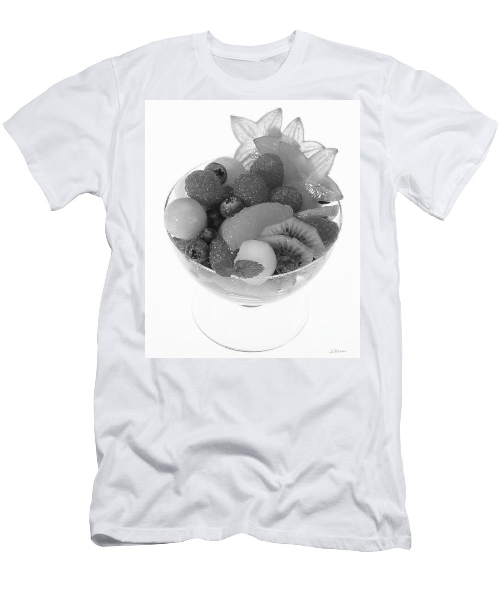 Food Men's T-Shirt (Athletic Fit) featuring the photograph Fruit Salad Cup Black And White by Iris Richardson