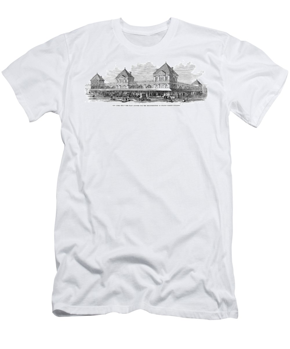 1881 Men's T-Shirt (Athletic Fit) featuring the photograph Fulton Fish Market, 1881 by Granger