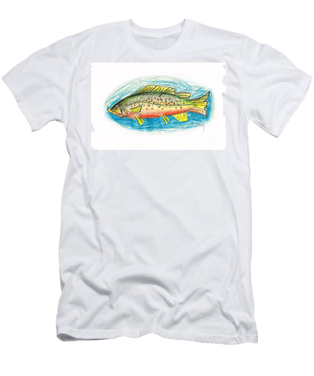Trout Men's T-Shirt (Athletic Fit) featuring the mixed media Funky Trout by Art MacKay