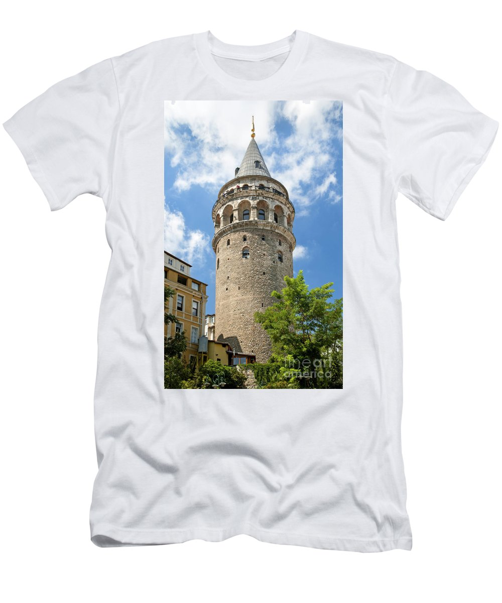 Attraction Men's T-Shirt (Athletic Fit) featuring the photograph Galata Tower Landmark In Istanbul Turkey by Jacek Malipan