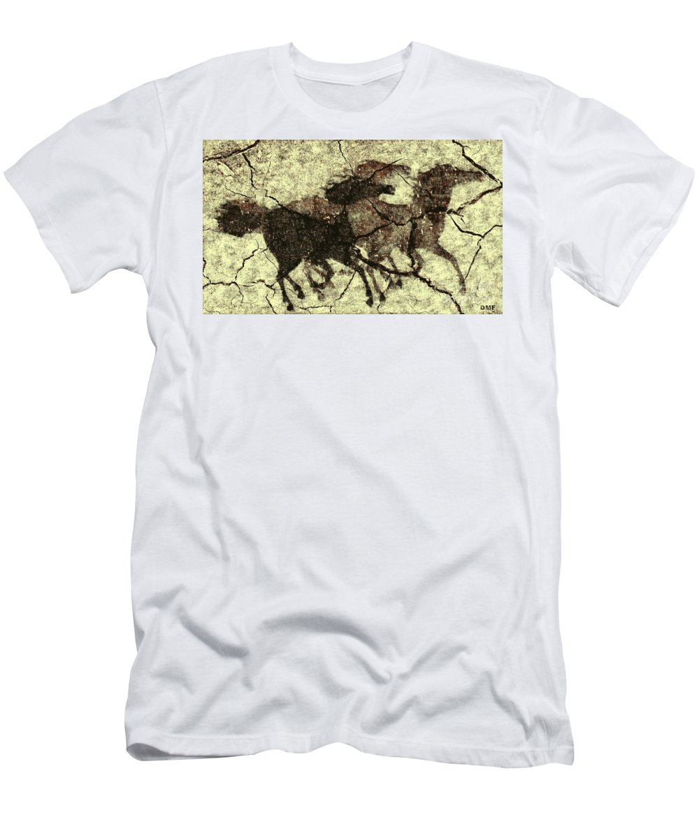 Animal Men's T-Shirt (Athletic Fit) featuring the digital art Galloping Horses by Dragica Micki Fortuna