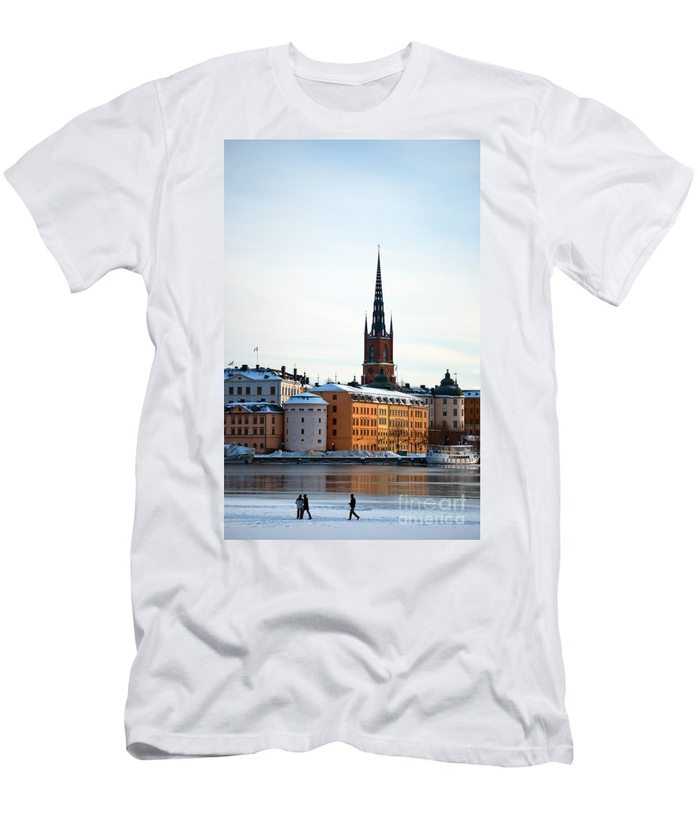 Winter Men's T-Shirt (Athletic Fit) featuring the photograph Gamla Stan Winter by Antony McAulay