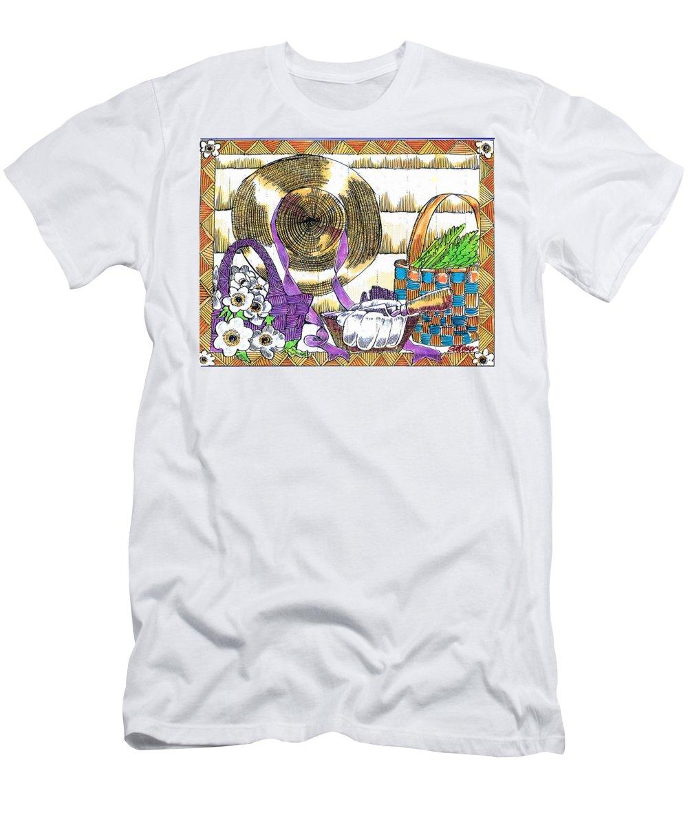 Gardener's Basket T-Shirt featuring the drawing Gardener's Basket by Seth Weaver
