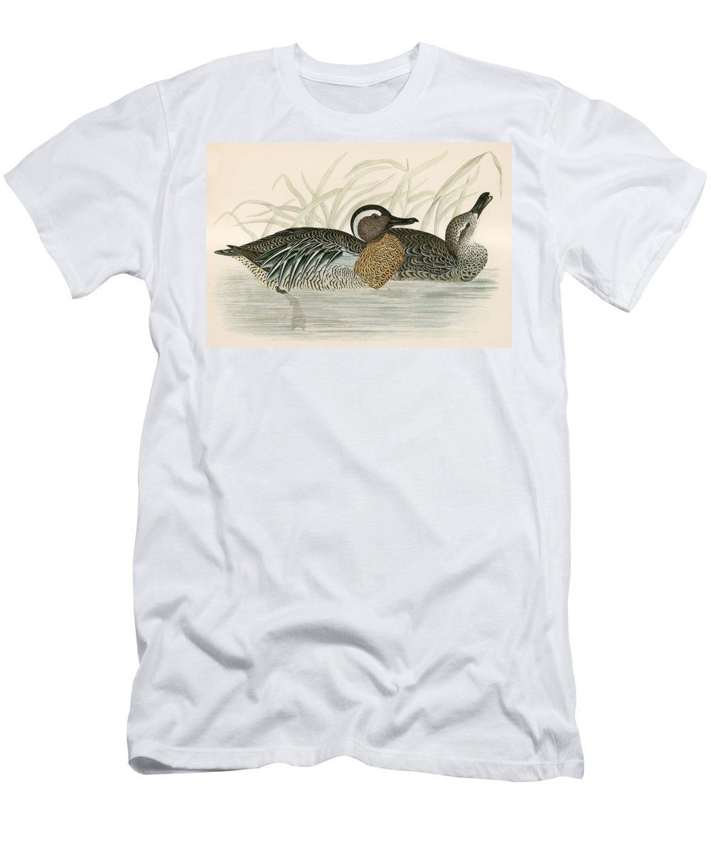 Birds Men's T-Shirt (Athletic Fit) featuring the photograph Garganey Teal by Beverley R. Morris