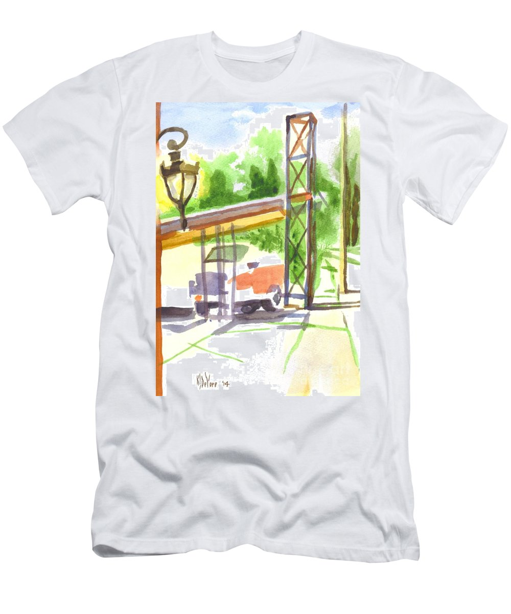Gaslight At The Truck Stop Men's T-Shirt (Athletic Fit) featuring the painting Gaslight At The Truck Stop by Kip DeVore