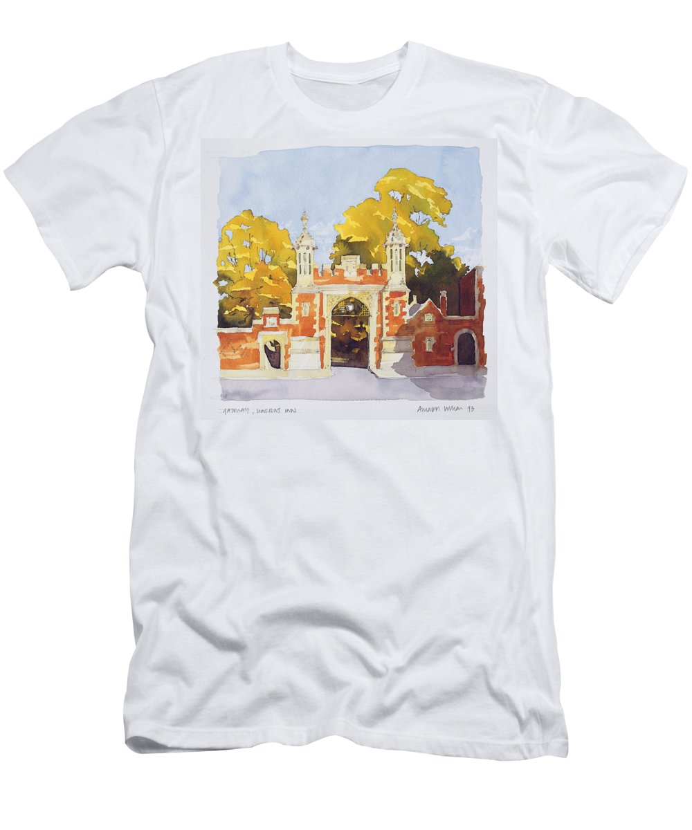 Entrance Men's T-Shirt (Athletic Fit) featuring the painting Gateway Lincoln's Inn by Annabel Wilson