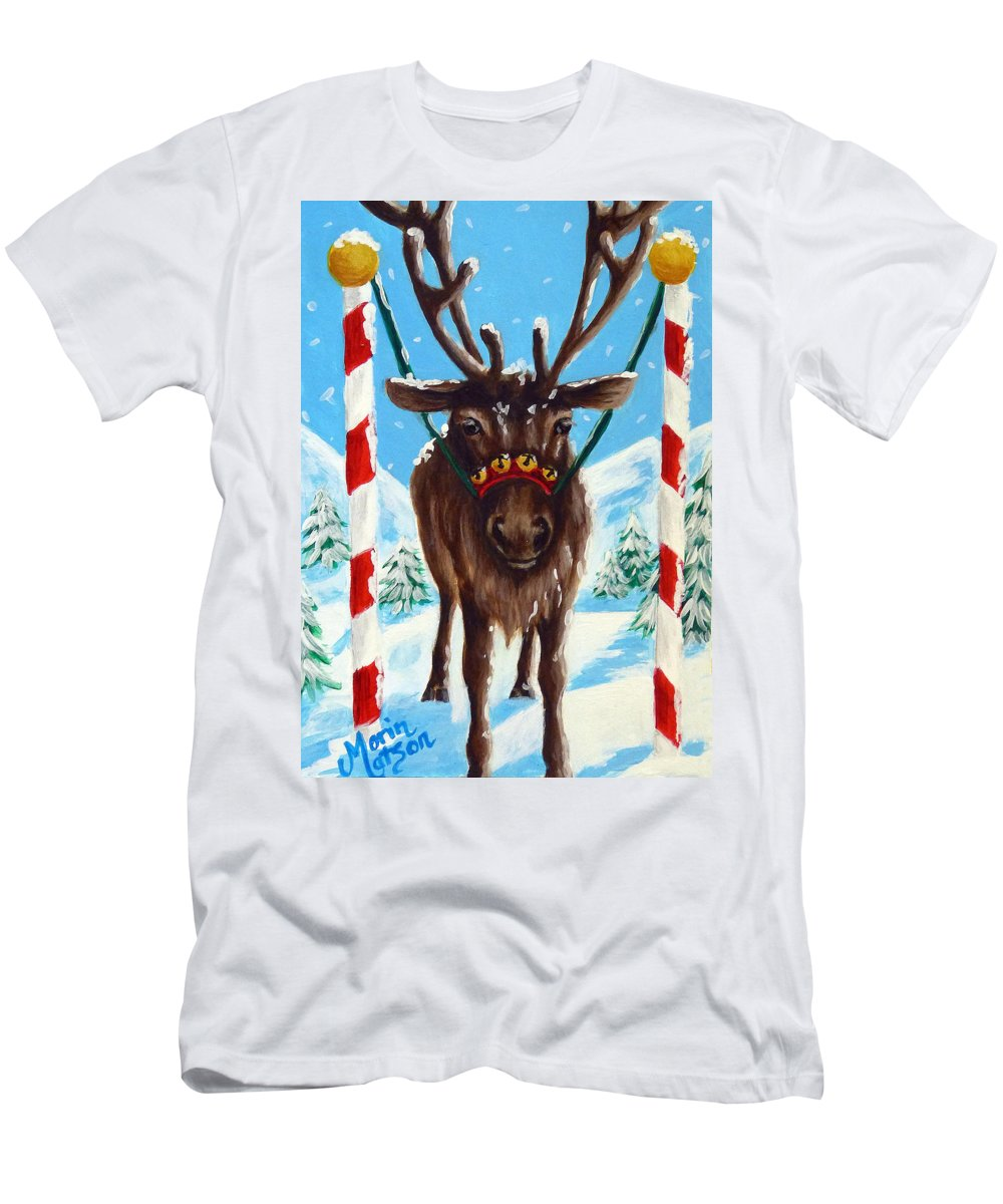 Reindeer Men's T-Shirt (Athletic Fit) featuring the painting Getting Ready For The Big Day by Monique Morin Matson