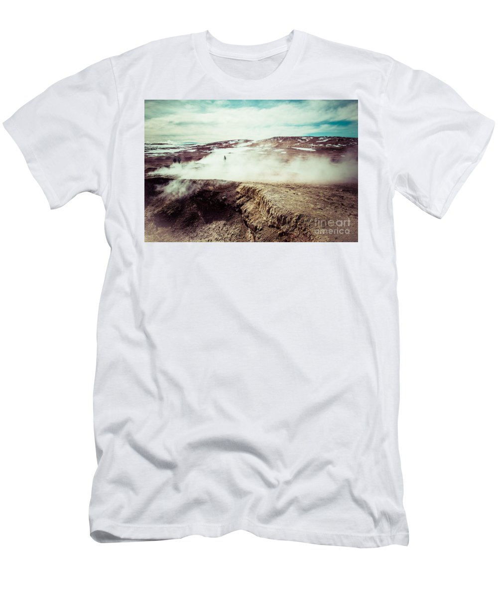Atacama Men's T-Shirt (Athletic Fit) featuring the photograph Geyser Sol De Manana by Mariusz Prusaczyk