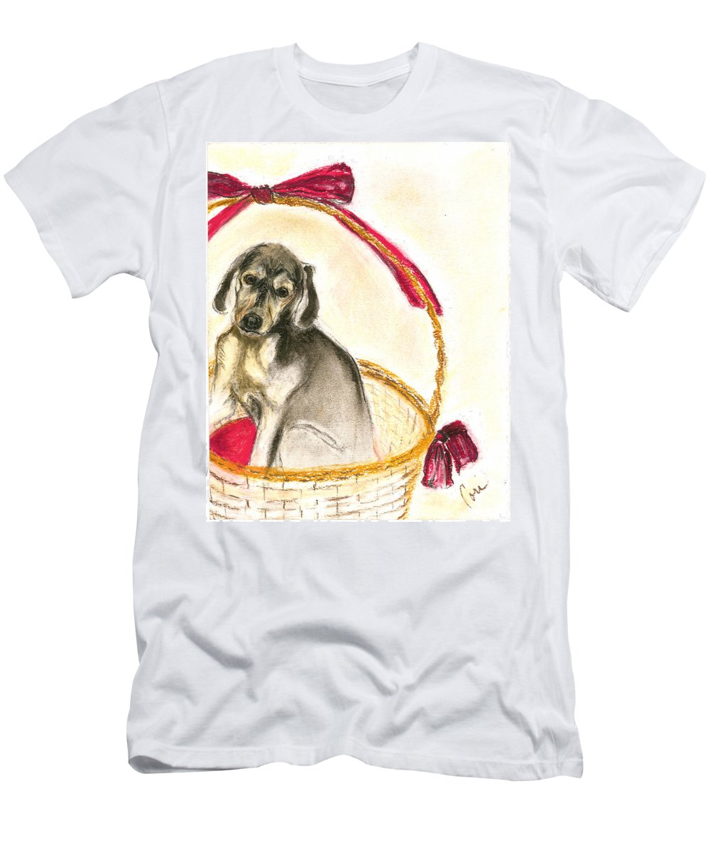 Dog Men's T-Shirt (Athletic Fit) featuring the drawing Gift Basket by Cori Solomon