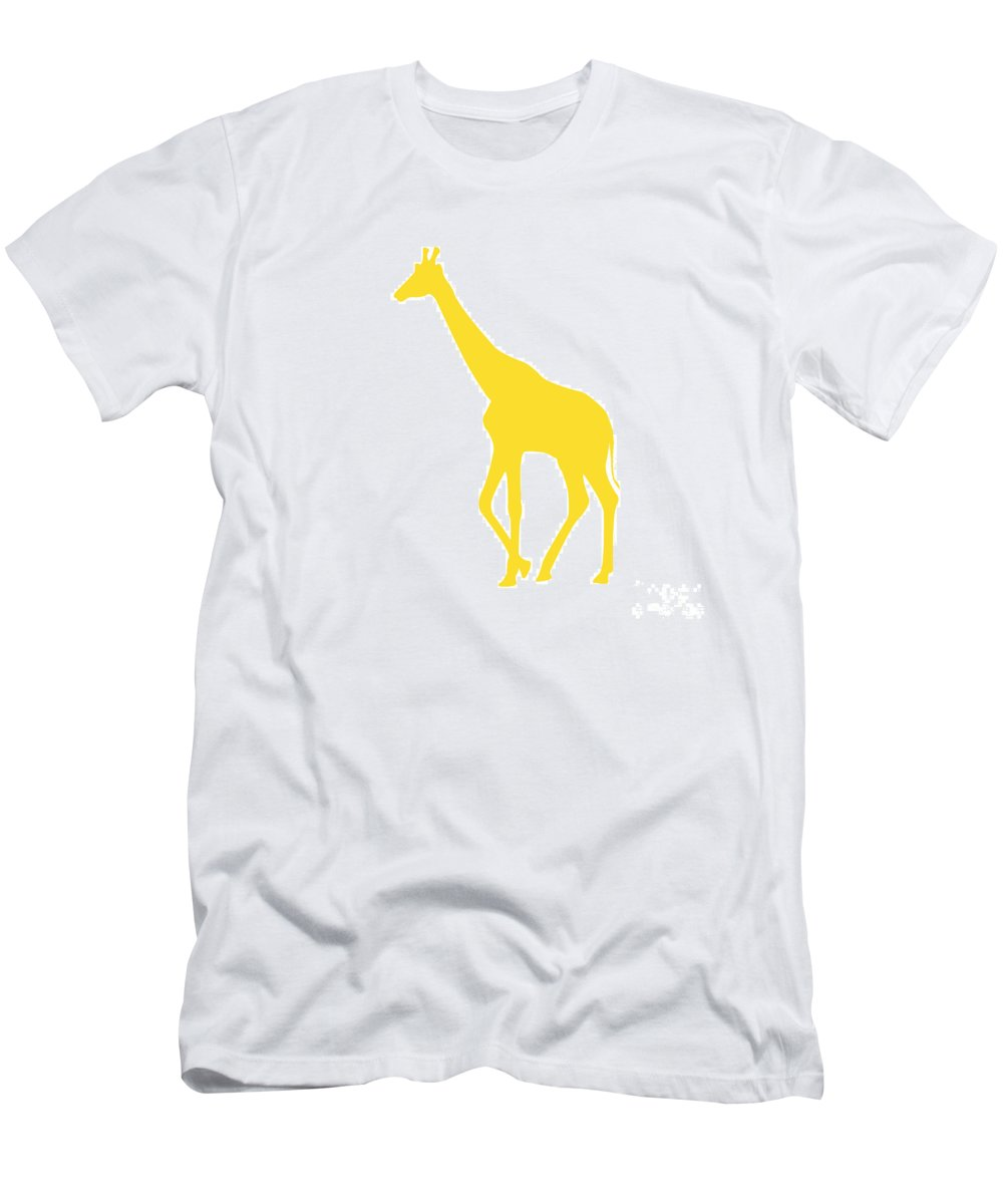 Graphic Art Men's T-Shirt (Athletic Fit) featuring the digital art Giraffe In Golden And White by Jackie Farnsworth