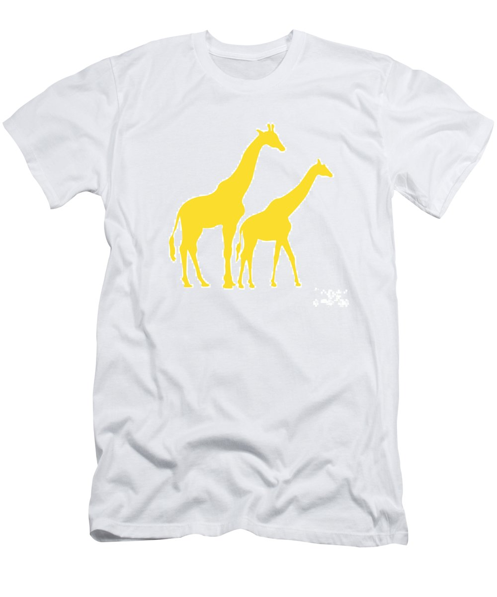 Graphic Art Men's T-Shirt (Athletic Fit) featuring the digital art Giraffes In Golden And White by Jackie Farnsworth