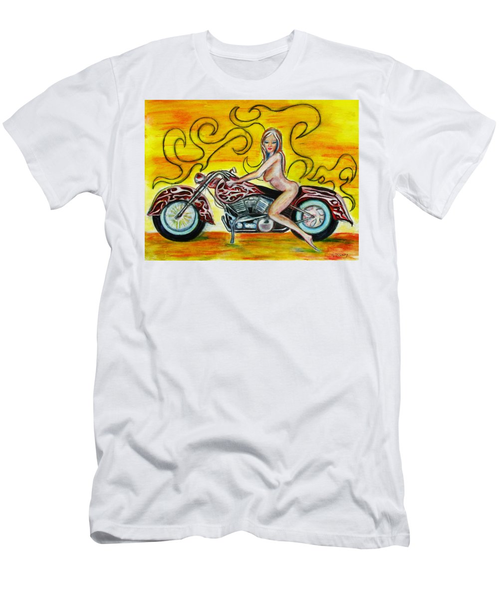 Nude Men's T-Shirt (Athletic Fit) featuring the Girl On A Motorcycle by Tom Conway