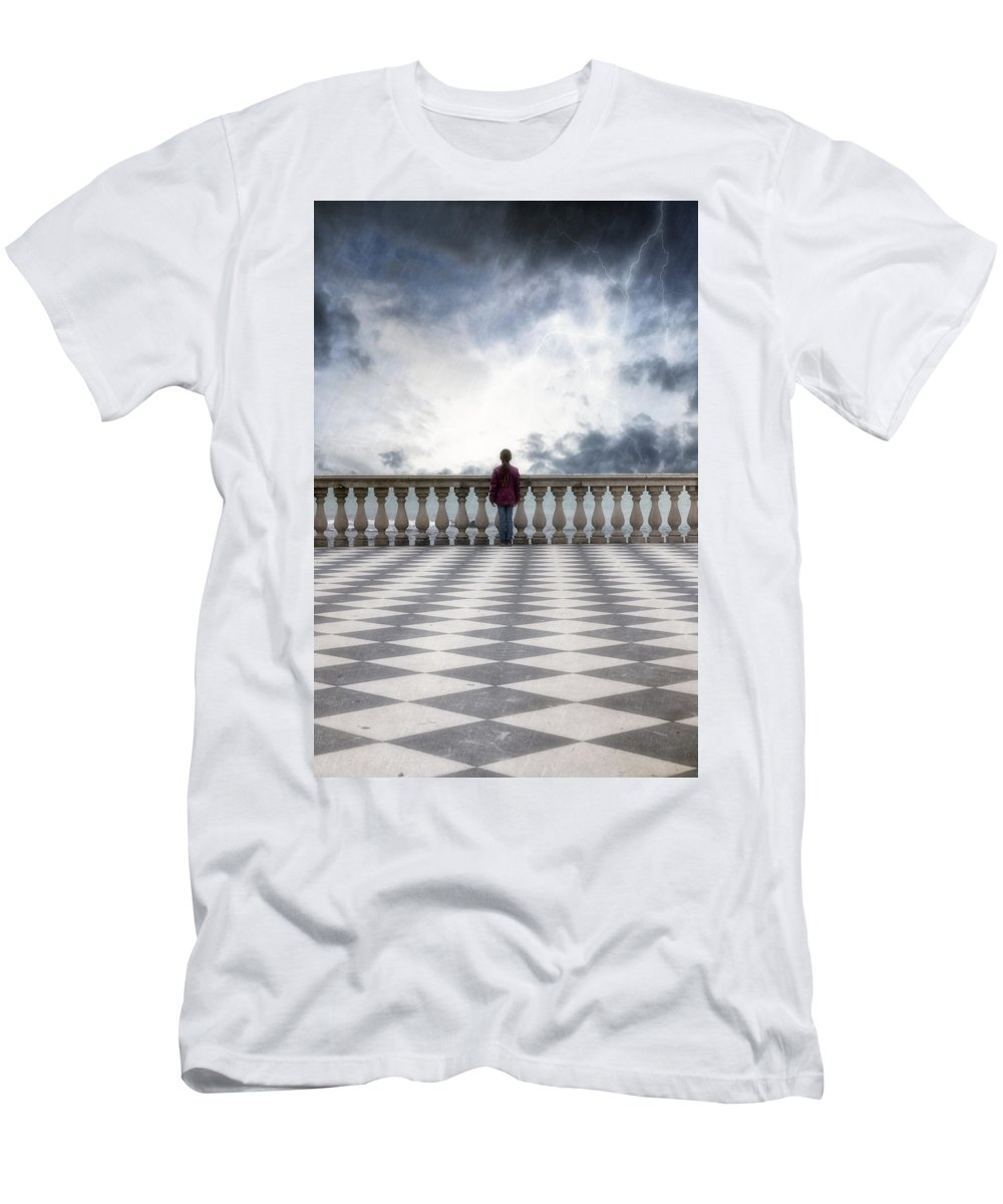 Female Men's T-Shirt (Athletic Fit) featuring the photograph Girl On A Terrace by Joana Kruse
