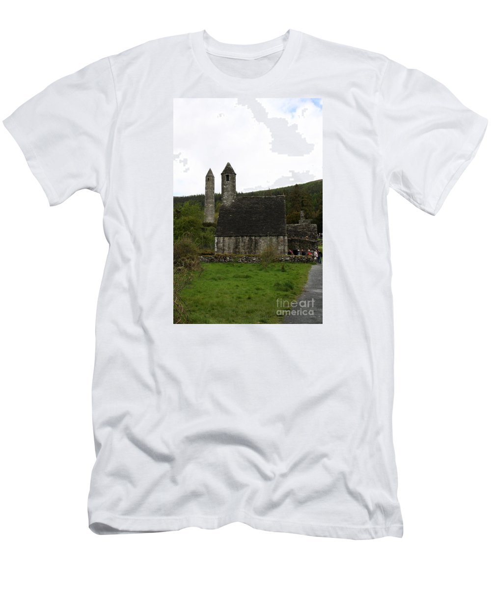 Cloister Men's T-Shirt (Athletic Fit) featuring the photograph Glendalough Cloister Ruin - Ireland by Christiane Schulze Art And Photography