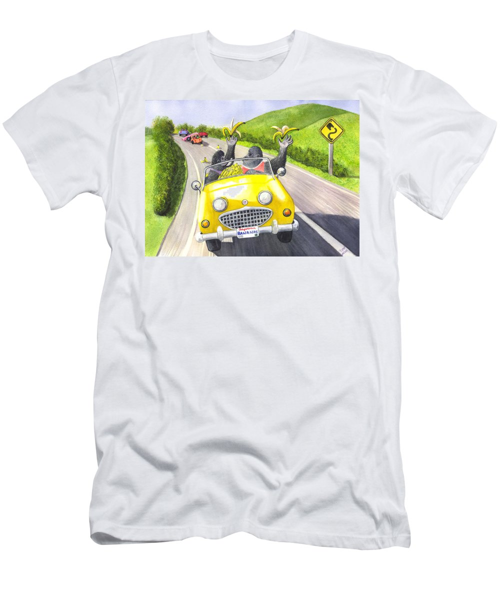 Banana Men's T-Shirt (Athletic Fit) featuring the painting Going Bananas by Catherine G McElroy