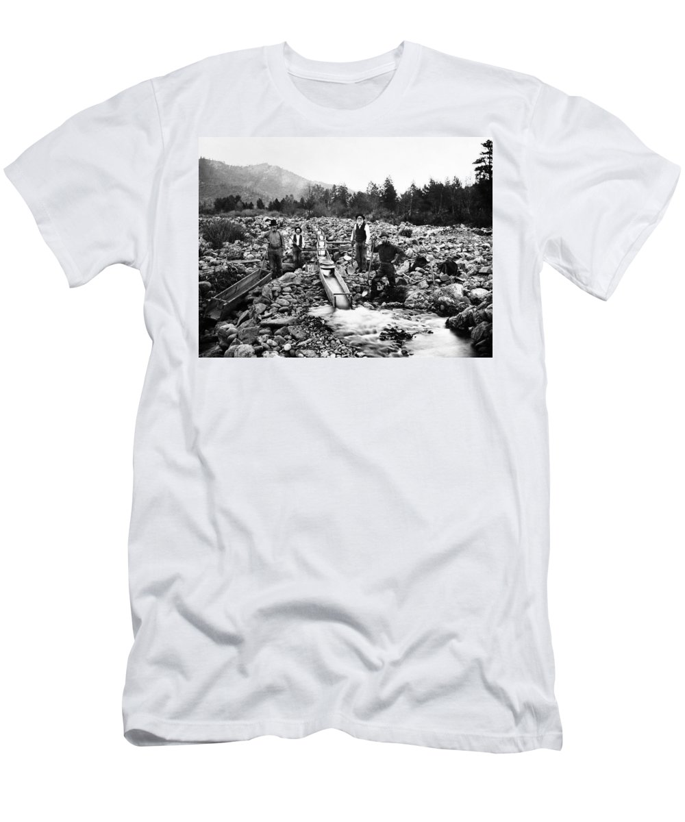 gold Miners Men's T-Shirt (Athletic Fit) featuring the photograph Gold Mining Claim C. 1890 by Daniel Hagerman