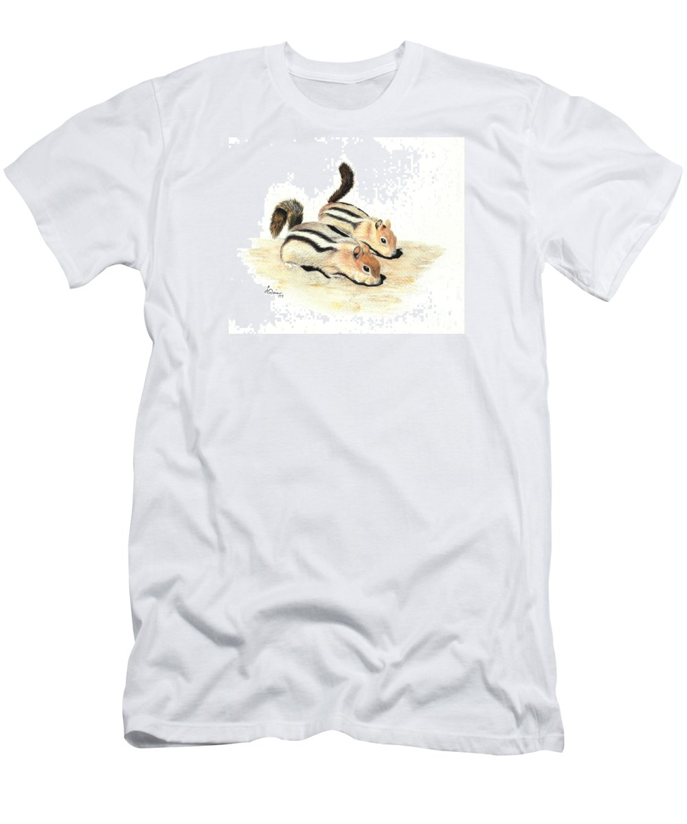 Nature Men's T-Shirt (Athletic Fit) featuring the painting Golden-mantled Ground Squirrels by Lynn Quinn