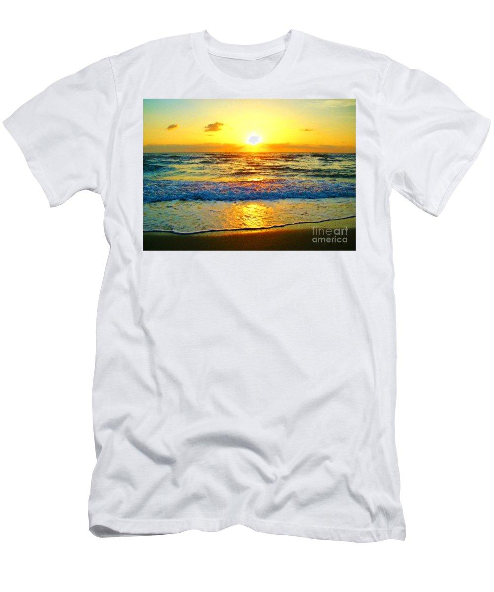 Keri West Men's T-Shirt (Athletic Fit) featuring the photograph Golden Surprise Sunrise by Keri West