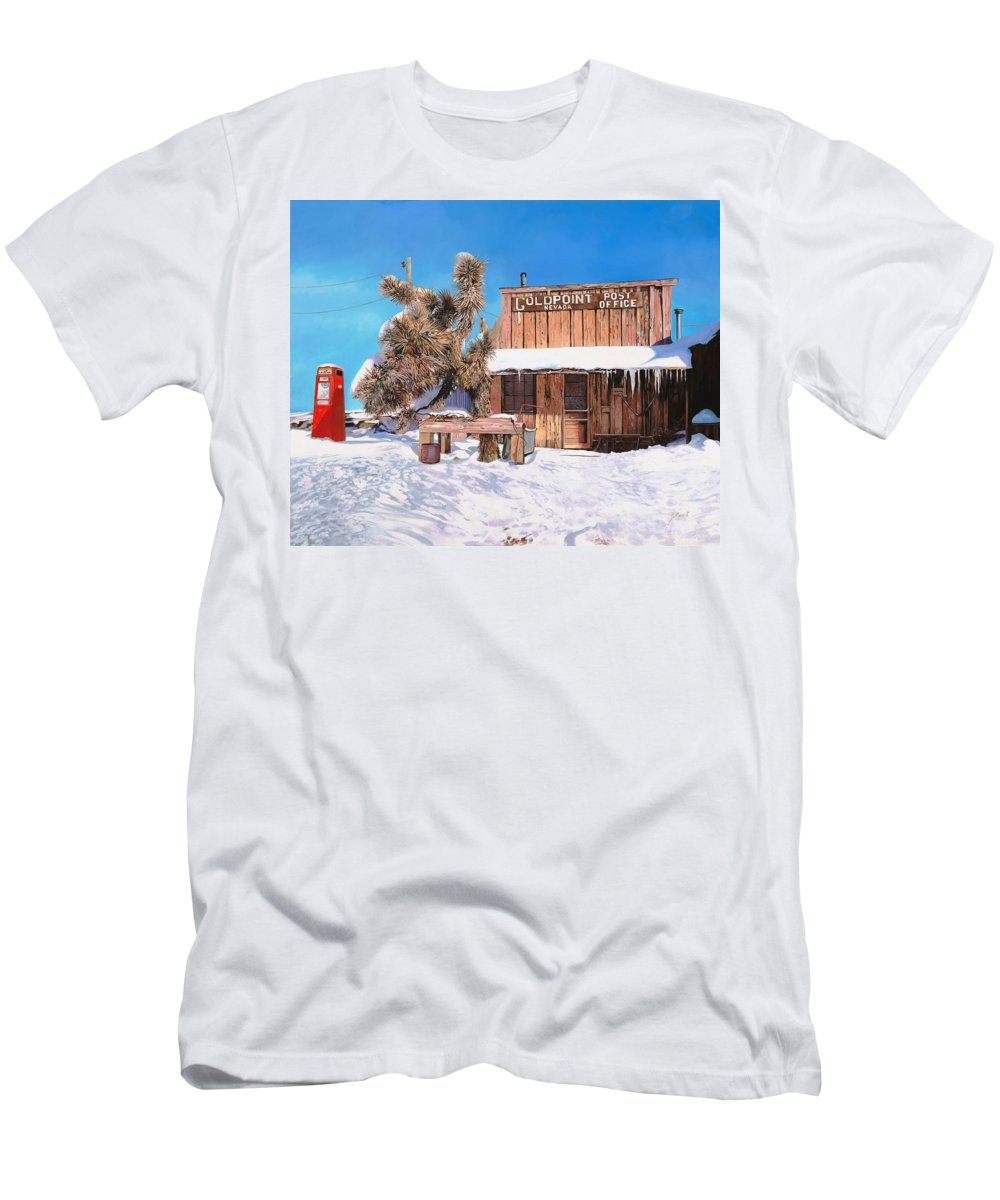 Gold Men's T-Shirt (Athletic Fit) featuring the painting Goldpoint-nevada by Guido Borelli