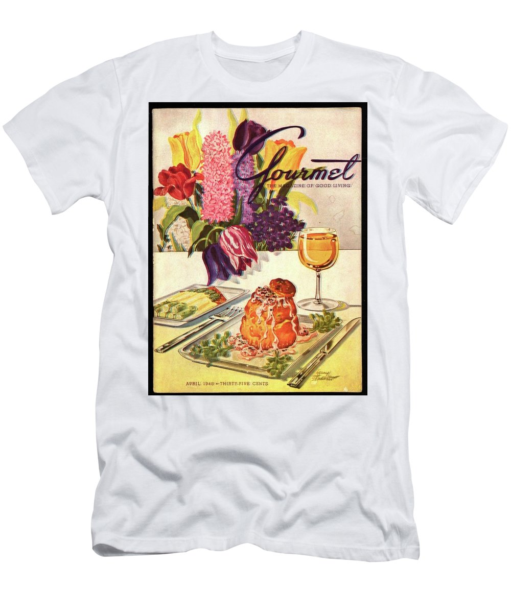 Flowers Men's T-Shirt (Athletic Fit) featuring the photograph Gourmet Cover Featuring Sweetbread And Asparagus by Henry Stahlhut