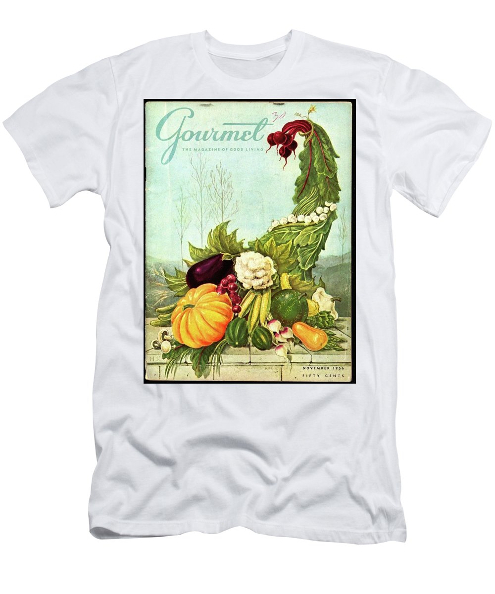 Illustration Men's T-Shirt (Athletic Fit) featuring the photograph Gourmet Cover Illustration Of A Cornucopia by Hilary Knight