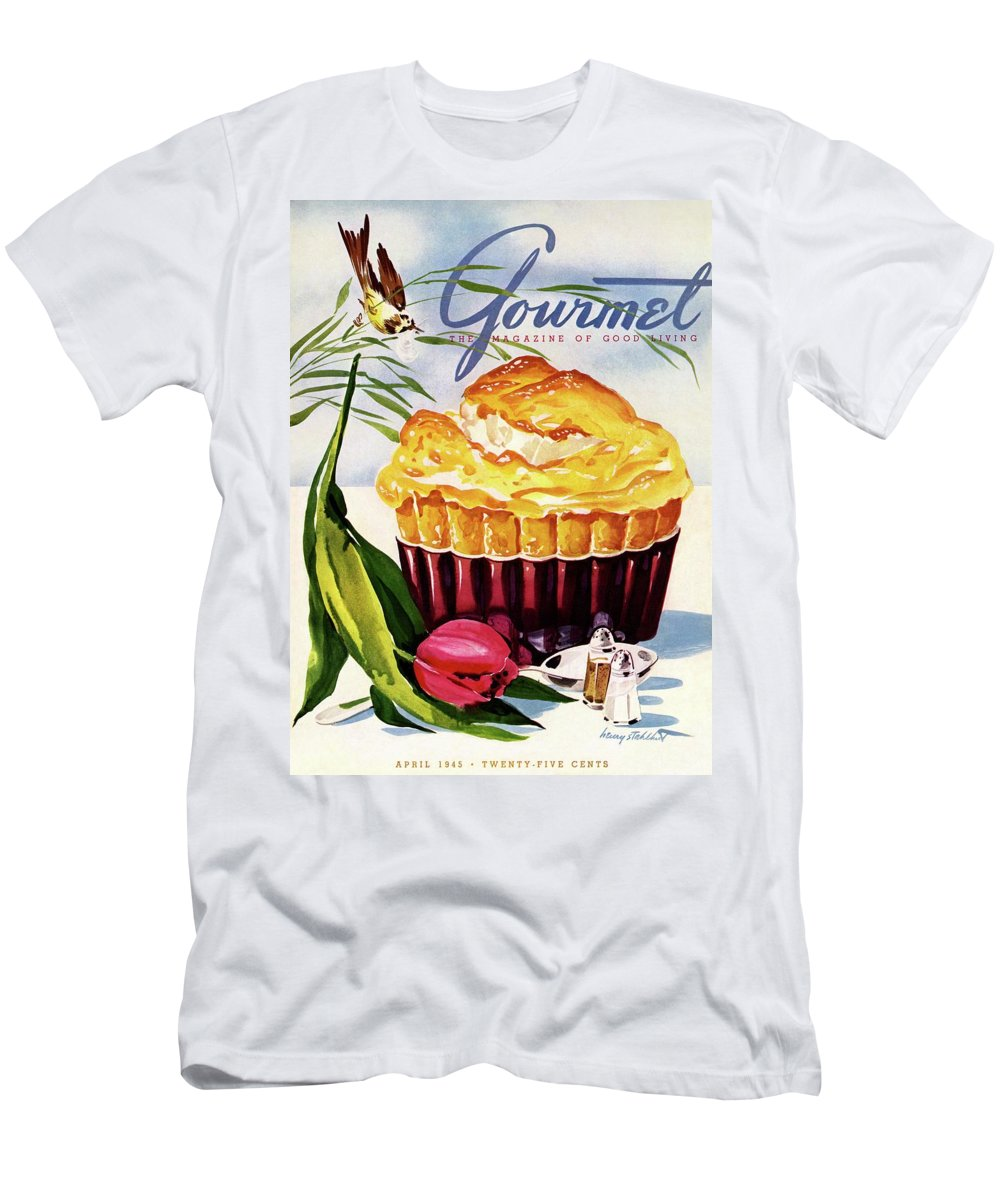 Illustration T-Shirt featuring the photograph Gourmet Cover Illustration Of A Souffle And Tulip by Henry Stahlhut