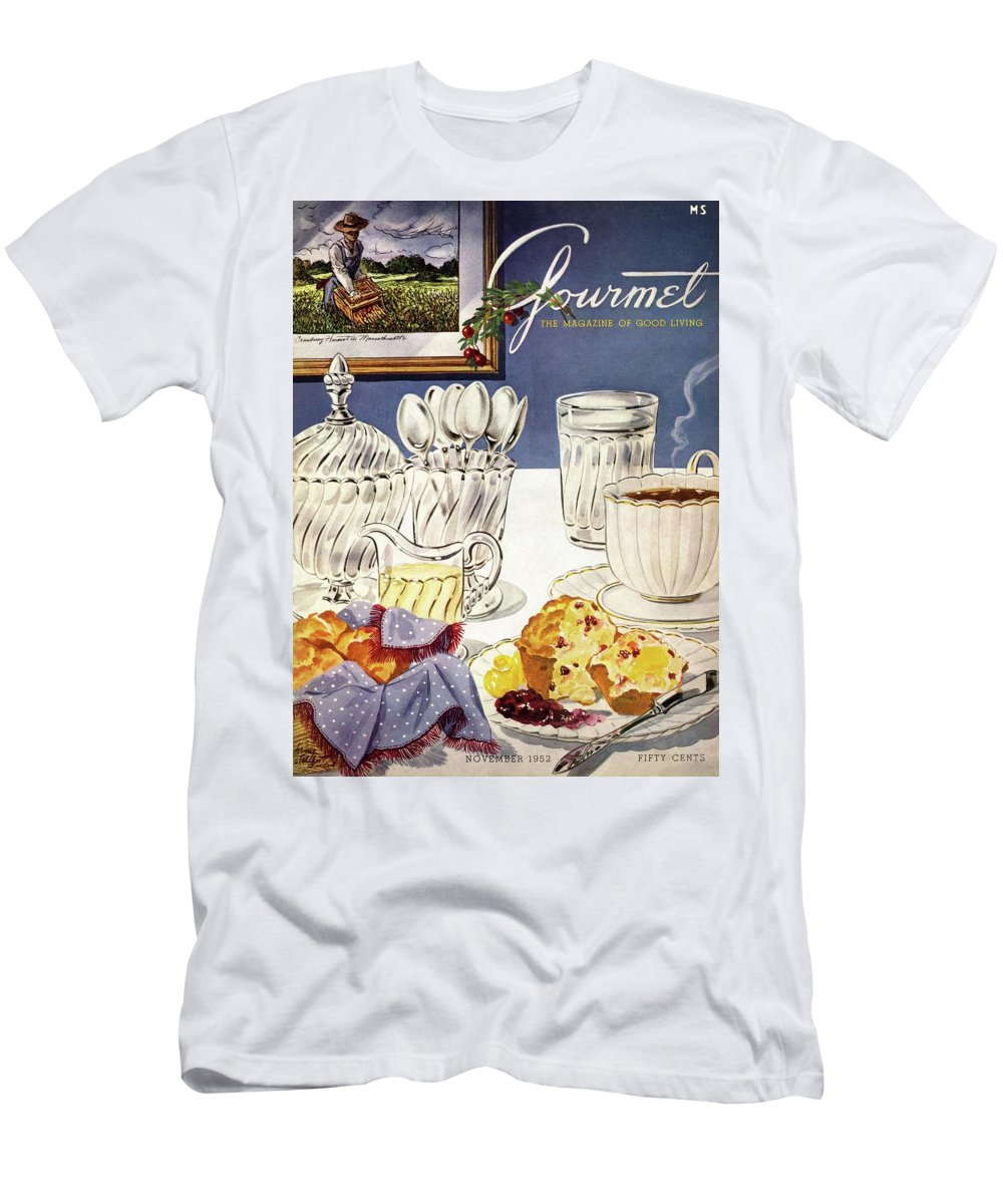 Food Men's T-Shirt (Athletic Fit) featuring the photograph Gourmet Cover Illustration Of Cranberry Muffins by Henry Stahlhut