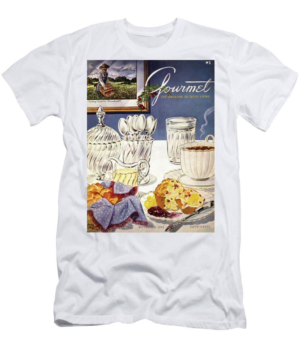 Food T-Shirt featuring the photograph Gourmet Cover Illustration Of Cranberry Muffins by Henry Stahlhut