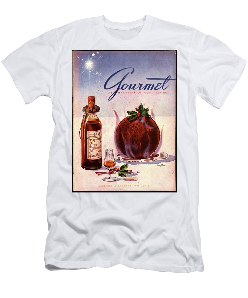 Illustration T-Shirt featuring the photograph Gourmet Cover Illustration Of Flaming Chocolate by Henry Stahlhut