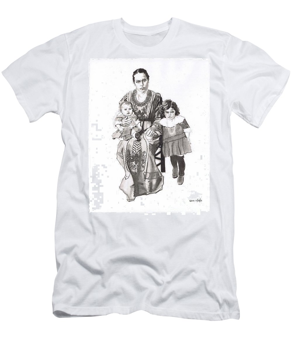 Charcoal Pencil On Paper T-Shirt featuring the drawing Grandma's Family by Sean Connolly