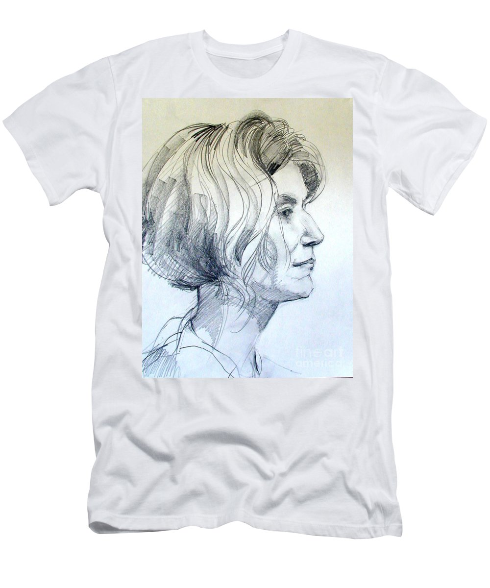 Portrait Men's T-Shirt (Athletic Fit) featuring the drawing Portrait Drawing Of A Woman In Profile by Greta Corens