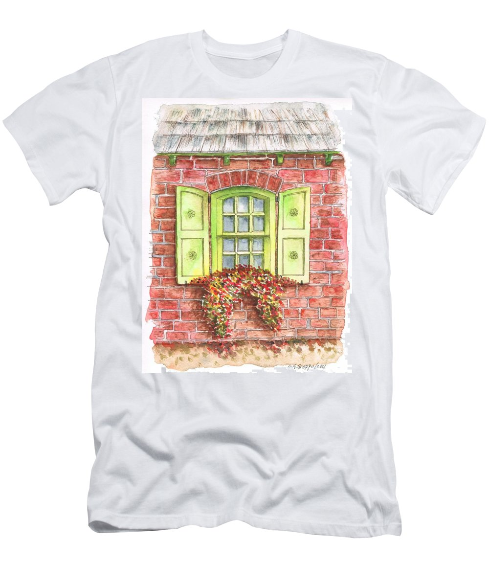 Watercolor Men's T-Shirt (Athletic Fit) featuring the painting Green Window by Carlos G Groppa