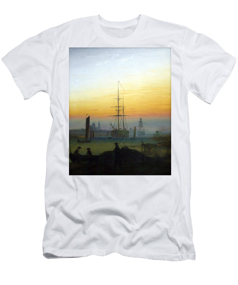 Caspar David Friedrich Men's T-Shirt (Athletic Fit) featuring the digital art Greifswald Harbour by Caspar David Friedrich
