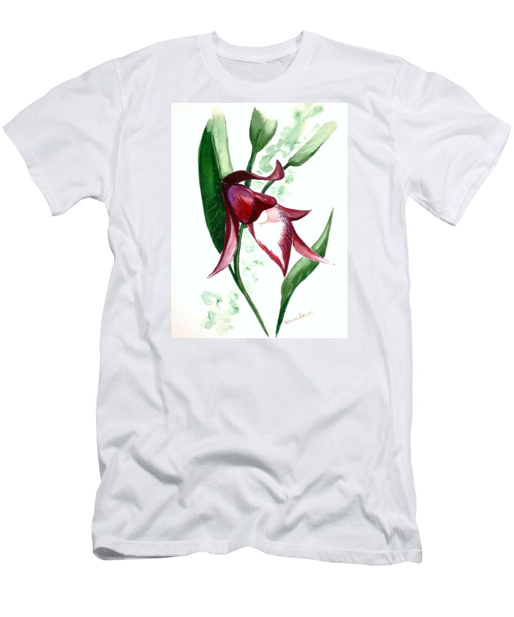 Men's T-Shirt (Athletic Fit) featuring the painting Ground Orchid by Karin Dawn Kelshall- Best