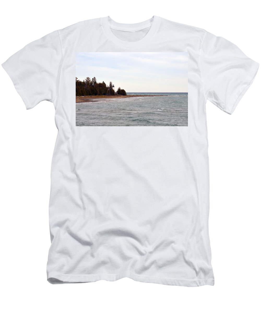 Presque Isle Men's T-Shirt (Athletic Fit) featuring the photograph Guard On The Point by Linda Kerkau